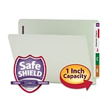 Smead® Pressboard End-Tab File Folders, 2-Fasteners w/SafeSHIELD, 1 Expansion, Letter, Gray/Green,