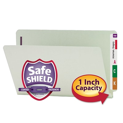 Smead® Pressboard End-Tab File Folders, 2-Fasteners w/SafeSHIELD, 1 Expansion, Legal, Gray/Green, 25/Bx (37705)