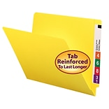 Smead® Colored End Tab Folder, Shelf-Master® Reinforced Straight-Cut, Letter Size, Yellow, 100/Box