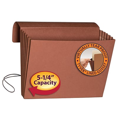 Smead® Expanding Wallets, 5-1/4 Expansion, Flap & Elastic Cord Closure, Extra Wide Letter, Redrope, 10/Bx (71186)