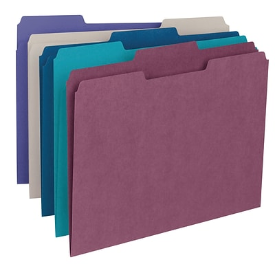 Smead® 3-Tab Colored File Folders, Letter, Assorted, 100/Bx, (11948)