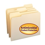 Smead File Folder with Antimicrobial Product Protection, 1/3-Cut Tab, Letter Size, Manila, 100/Box (