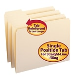 Smead® Reinforced 3-Tab File Folders, Left Position, Letter, Manila, 100/Bx (10335)