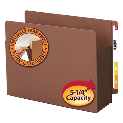 Smead® Reinforced End-Tab File Pockets, 5-1/4 Expansion, Extra Wide Letter, Redrope with Dark Brown Gusset, 10/Bx (73691)