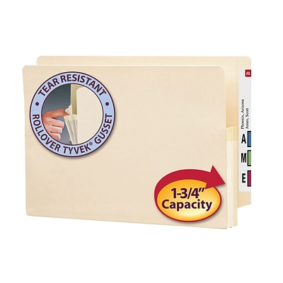 Smead® End-Tab Manila File Pockets, Legal Size, 1-3/4 Expansion