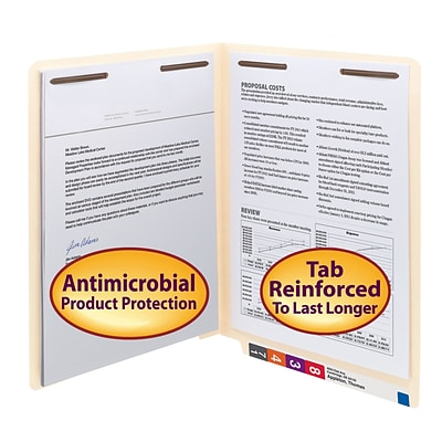Smead® Shelf-Master Antimicrobial Reinforced End-Tab File Folders, 2-Fasteners, Letter, Manila, 50/Bx (34116)