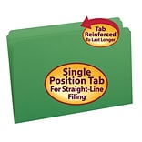 Smead® Reinforced Straight Cut Colored File Folders, Legal, Green, 100/Bx (17110)