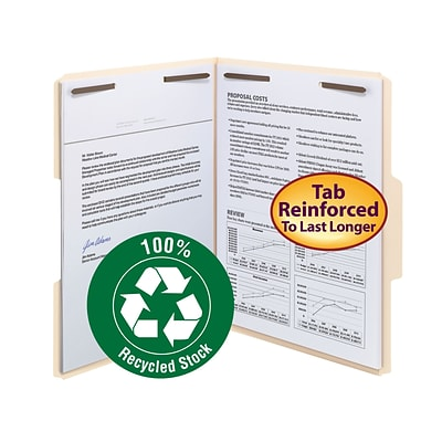 Smead® 100% Recycled Fastener File Folder, 2 Fasteners, Reinforced 1/3-Cut Tab, Letter Size, Manila,