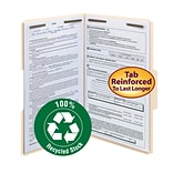 Smead® 100% Recycled Fastener File Folder, 2 Fasteners, Reinforced 1/3-Cut Tab, Legal Size, Manila,