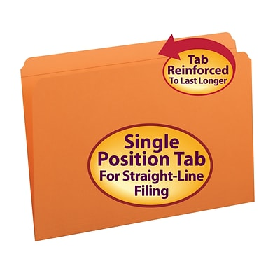 Smead® Reinforced Straight Cut Colored File Folders, Legal, Orange, 100/Bx (17510)