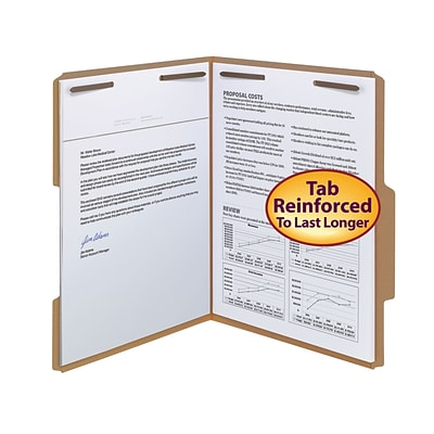 Smead® Reinforced 2/5-Cut Tab File Folders, Right of Center Position, 2-Fasteners, Letter, Kraft, 50/Bx (14880)