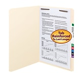 Smead® Reinforced Straight Cut File Folders, 1-Fastener, Legal, Manila, 50/Bx (19510)