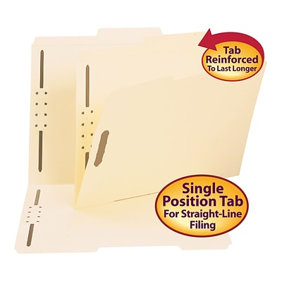 Smead® Reinforced 2/5-Cut Tab Guide Height File Folders, Right of Center Position, 2-Fasteners, Letter, Manila, 50/Bx (14580)