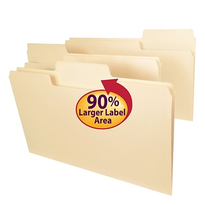 Smead® SuperTab Oversized 3-Tab File Folders, Legal, Manila, 100/Bx (15301)