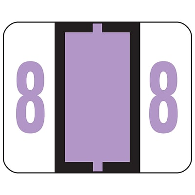 Smead® BCCRN Bar-Style Color-Coded Numeric Labels, 8, Label Roll, Lavender, 500/Pk (67378)