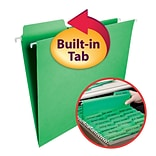 Smead® FasTab® Hanging File Folder, 1/3-Cut Built-In Tab, Letter Size, Green, 20/Box (64098)