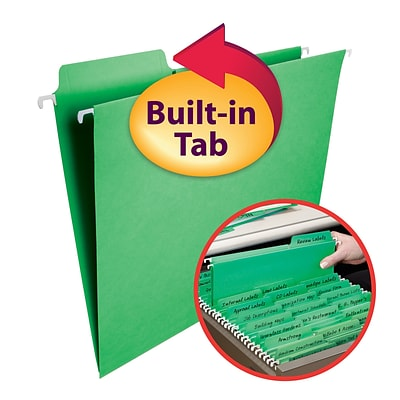 Smead® FasTab 3-Tab Colored Hanging File Folders, Letter, Green, 20/Bx (64098)