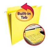 Smead® FasTab 3-Tab Colored Hanging File Folders, Letter, Yellow, 20/Bx (64097)