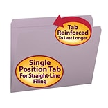 Smead® File Folder, Reinforced Straight-Cut Tab, Letter Size, Lavender, 100/Box (12410)