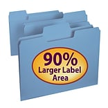 Smead® SuperTab® Colored File Folders, Letter, 3 Tab, Blue, 100/Box