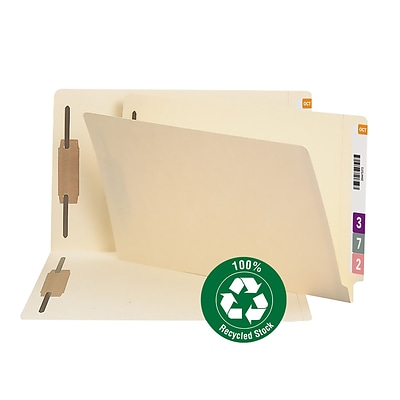 Smead® 100% Recycled Reinforced End-Tab File Folders, 2-Fasteners, Legal, Manila, 50/Bx (37160)