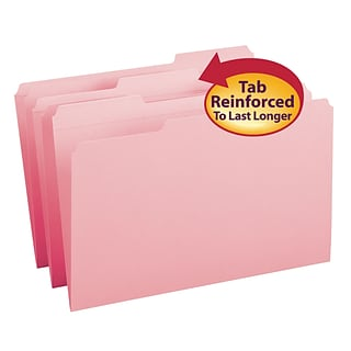 Smead® Legal Recycled 1/3 Cut Reinforced Top Tab Folder with 3/4 Expansion, Pink, 100/Pack