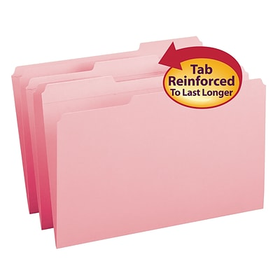 Smead® Reinforced 3-Tab Colored File Folders, Legal, Pink, 100/Bx (17634)