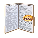 Smead® Reinforced 2/5-Cut Tab File Folders, Right of Center Position, 2-Fasteners, Legal, Kraft, 50/