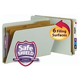 Smead® End Tab Pressboard Classification File Folder, SafeSHIELD® Fasteners, 2 Expansion, Legal, Gr