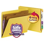 Smead® End Tab Pressboard Classification File Folder with SafeSHIELD®, Letter, Yellow, 10/Box (26789