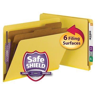 Smead® Pressboard End-Tab Classification Folders, 6-Fasteners, 2-Partitions, Letter, Yellow, 10/Bx (26789)