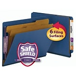 Smead® End Tab Pressboard Classification File Folder with SafeSHIELD®, Letter, Dark Blue, 10/Box (26