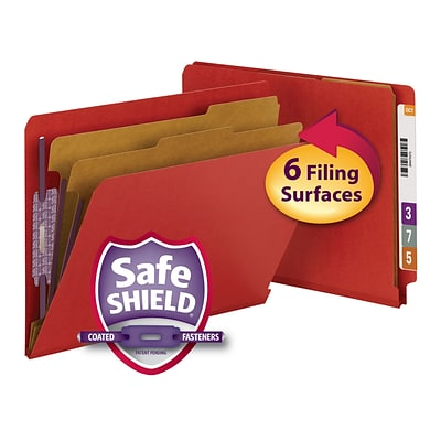 Smead® End Tab Pressboard Classification File Folder with SafeSHIELD®, Letter, Bright Red, 10/Box (26783)