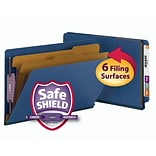 Smead® End Tab Pressboard Classification File Folder with SafeSHIELD®, Legal, Dark Blue, 10/Box (297