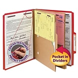 Smead® Pressboard 2/5-Cut Tab Classification Folders, 6-Fasteners, 2 Pocket Partitions, Letter, Brig