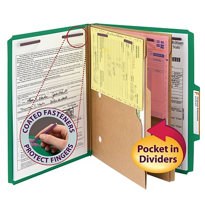 Smead® Pressboard Classification Folder w/ Pocket Divider, SafeSHIELD® Fasteners, 2 Exp., Letter, Green, 10/Box (14083)
