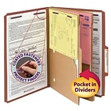 Smead® Pressboard Classification File Folder w/ Wallet Divider and SafeSHIELD® Fasteners, 2 Exp., L