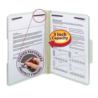 Smead® Pressboard Fastener Folder w/SafeSHIELD® Coated Fastener, 1/3-Cut, Letter Size, 3 Expansion