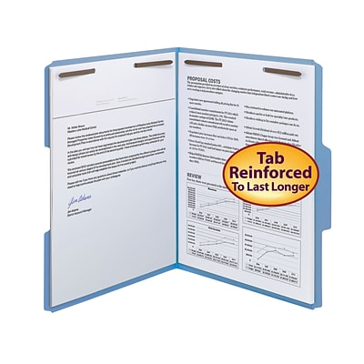 Smead® Reinforced 3-Tab Colored File Folders, 2-Fasteners, Letter, Blue, 50/Bx (12040)