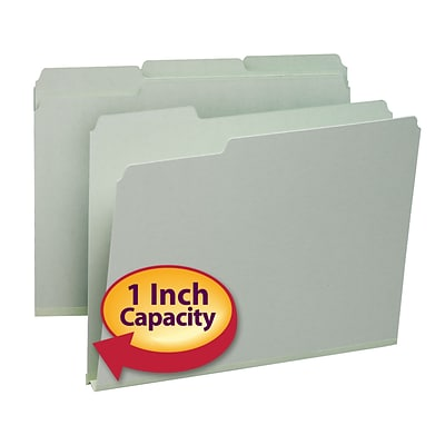 Smead®  Pressboard File Folder, 1/3-Cut Tab, 1 Expansion, Letter Size, Gray/Green, 25 per Box (13230)