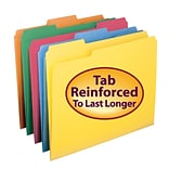Smead® Reinforced 3-Tab Colored File Folders, Letter, Assorted, 100/Bx (11993)