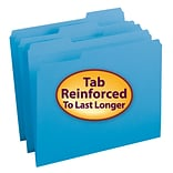 Smead® Reinforced 3-Tab Colored File Folders, Letter, Blue, 100/Bx (12034)