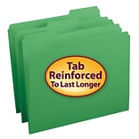 Smead® Reinforced 3-Tab Colored File Folders, Letter, Green, 100/Bx (12134)