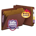 Smead®  End Tab Psbd Classification Folder SafeSHIELD® Fasteners, 3 Dividers, 3 Expansion, Letter S