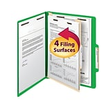 Smead® Classification File Folder, 1 Divider, 2 Expansion, Letter Size, Green, 10/Box (13702)