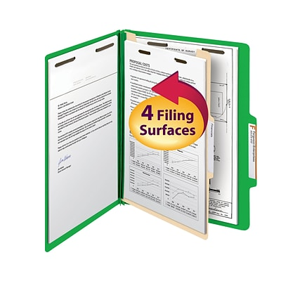 Smead Classification File Folder, 1 Divider, 2 Expansion, Letter Size, Green, 10/Box  (13702)