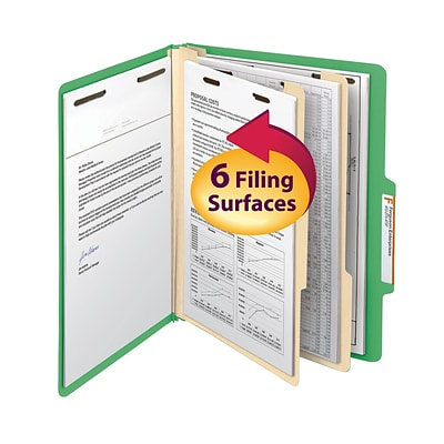Smead® Classification File Folder, 2 Divider, 2 Expansion, Letter Size, Green, 10 per Box (14002)