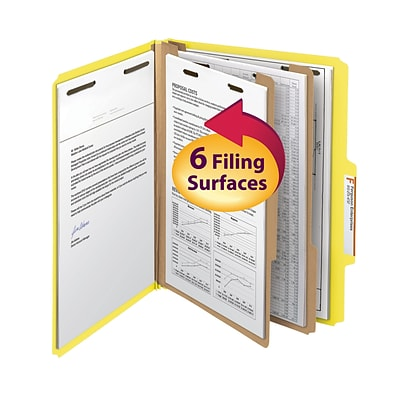 Smead® Classification File Folder, 2 Divider, 2 Expansion, Letter Size, Yellow, 10/Box (14004)