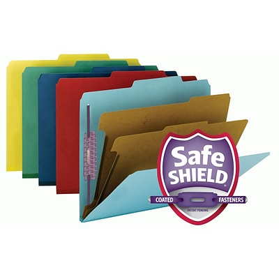 Smead Pressboard Classification File Folder w/ SafeSHIELD Fasteners, 2 Dividers, 2 Exp., Letter Size, Assorted, 10/Box (14025)