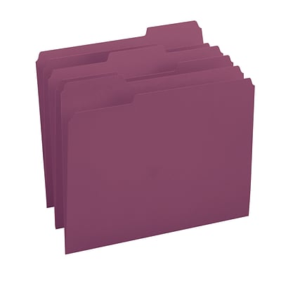 Smead® 3-Tab Colored File Folders, Letter, Maroon, 100/Bx (13093)